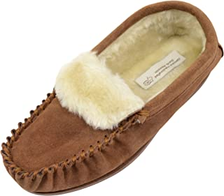 ABSOLUTE FOOTWEAR Ladies/Womens Suede Sheepskin Moccasins/Slippers with Rubber Sole