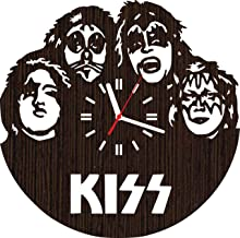 Lovelygift4you Wooden Wall Clock kiss Gifts for Men Women him her mom dad Grandpa Home Decorations Art Collectibles Fans Stuff Merchandise Accessories Band Rock and roll Vinyl Music Poster Decor