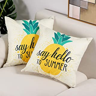 مجموعة Btyrle من 2 أناناس طباعة رقمية أغطية وسائد رمي للصيف الزخرفية كتان أغطية وسادات مربعة للأريكة السرير (أناناس)