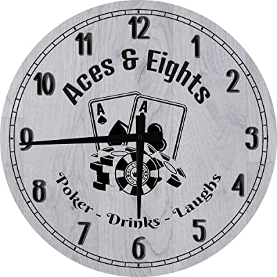 OSG Bar Wall Clock Aces & Eights Poker Room Large Gray 18 in Round Wall Clock for Men