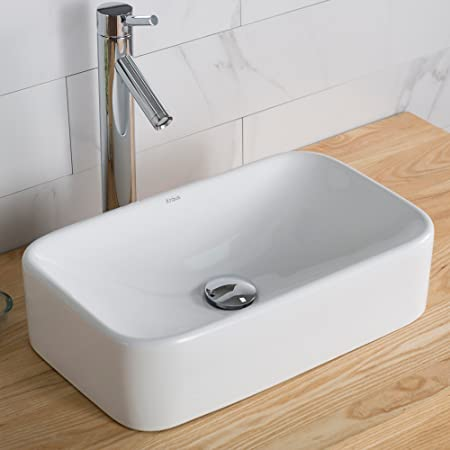 Kraus - Fregadero de cerámica para baño, Moderno, 48 cm, Blanco