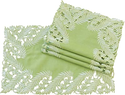 Xia Home Fashions Laurel Embroidered Cutwork Traycloth, 12 by 18-Inch,Green, Set of 4