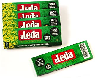 aLeda 5 booklets Transparent Rolling Paper King Size from Brazil - Total 200 Papers