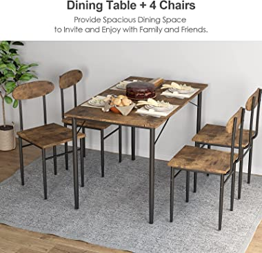 BAHOM 5 Piece Dining Table Set for 4, 47in Wooden Modern Dining Set with 4 Chairs for Kitchen, Dining Room, Small Space (Retr