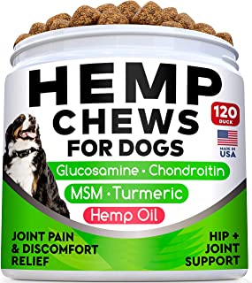 All-Natural Hemp Chews + Glucosamine for Dogs - Advanced Hip & Joint Supplement w/Hemp Oil Turmeric MSM Chondroitin + Hemp...