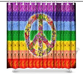 InterestPrint Peace Floral Symbol on Rainbow Islamic Flag Polyester Fabric Bathroom Shower Curtain Set with Hooks, 72 x 72 Inches