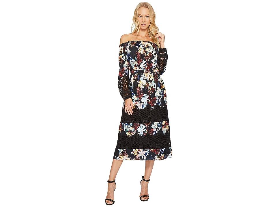CATHERINE Catherine Malandrino Smocked Neck Lace Peasant Sleeve Dress (Dark Lily) Women