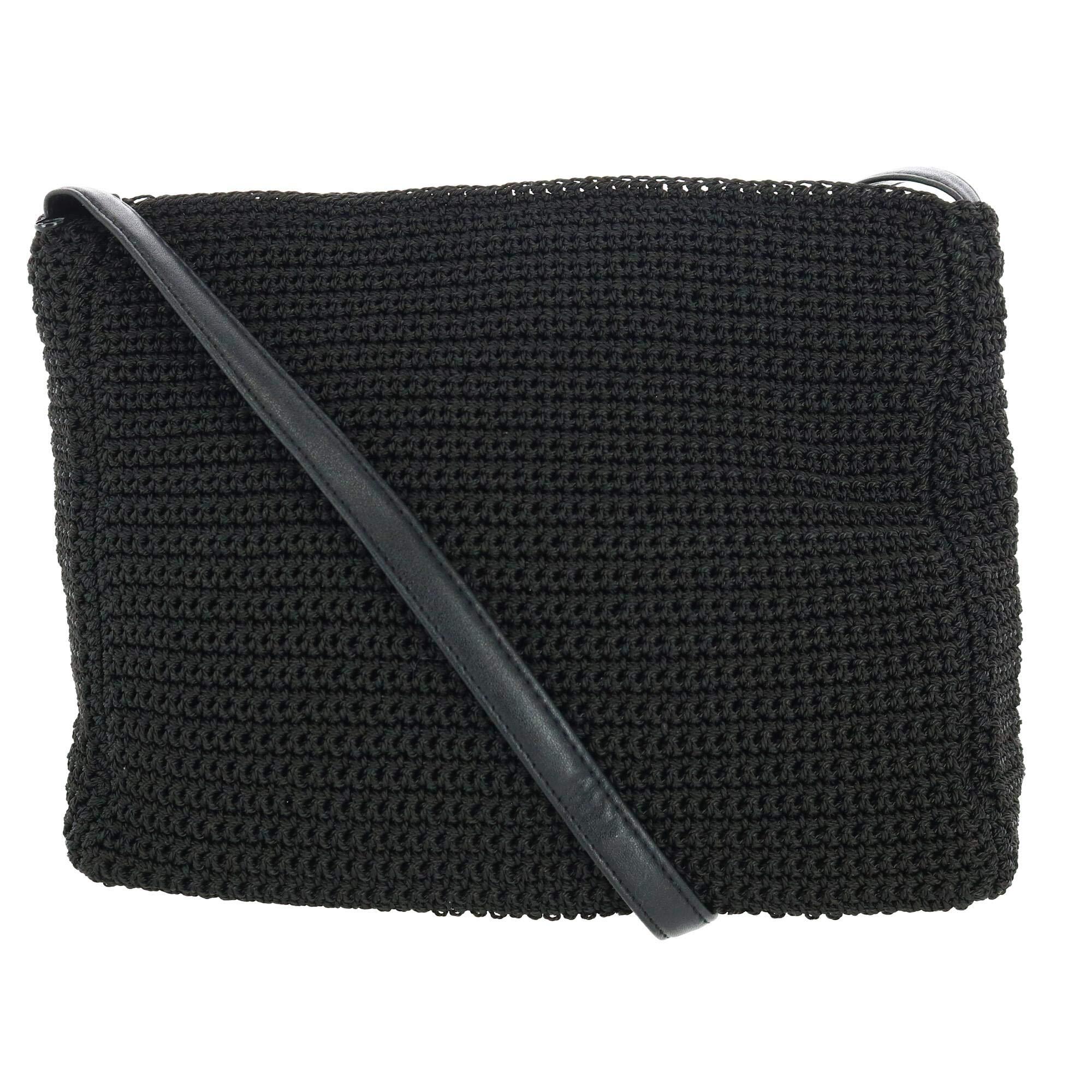 CTMレディースかぎ針編みクロスボディバッグ人工皮革ストラップ