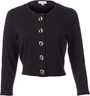 Calvin Klein Women's Three Quarter Sleeve Button Front Shrug