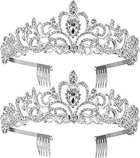2 Pack Wedding Bridal Crown, Crystal Rhinestones Crown with Comb Princess Crown Headband (Style 1)