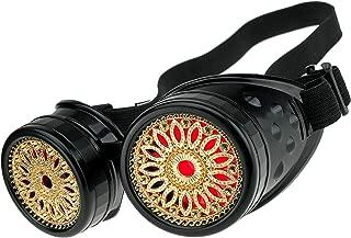 Gafas de Sol Welding Cyber Goggles Steampunk Goth Cosplay Sunglasses Round Glasses Party Fancy Dress MFAZ Morefaz Ltd (Black Design)