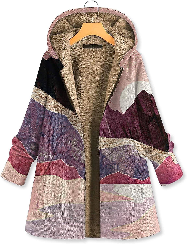 WERVOT Damen Mantel Jacke Herbst Winter Parka Berglandschaft Blumen Gedruckt Langarm Hoodies Zipper Lose Sweatshirt Rosa E