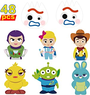 Ticiaga 48pcs Toy Inspired Story DIY Party Decoration Set, Double Sided Toy 4th Centerpiece Sticks Table Topper for Kids, Party Banner Bunting Decor, Fork Buzz Lightyear Cake Topper, Photo Booth Props