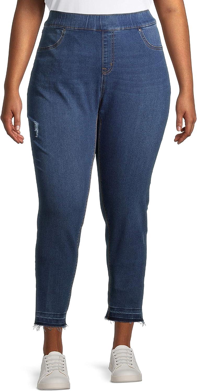 Terra & Sky Women's and Women's Plus Size Denim Pull on Skinny Jeans