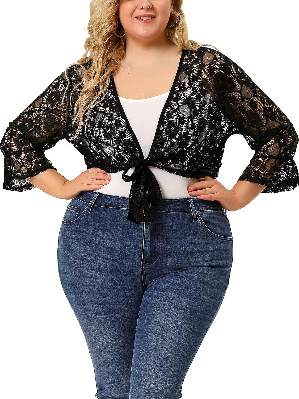 Agnes Orinda Plus Size Shrug Cardigan for Women Tie Front Hollow Out Floral Lace Crop Bolero Jacket