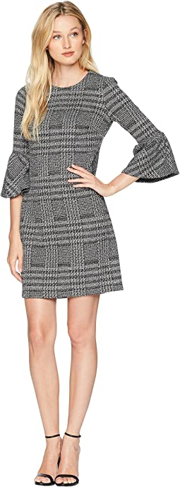 Ponte Plaid Bell Sleeve Sheath Dress CD8P286L