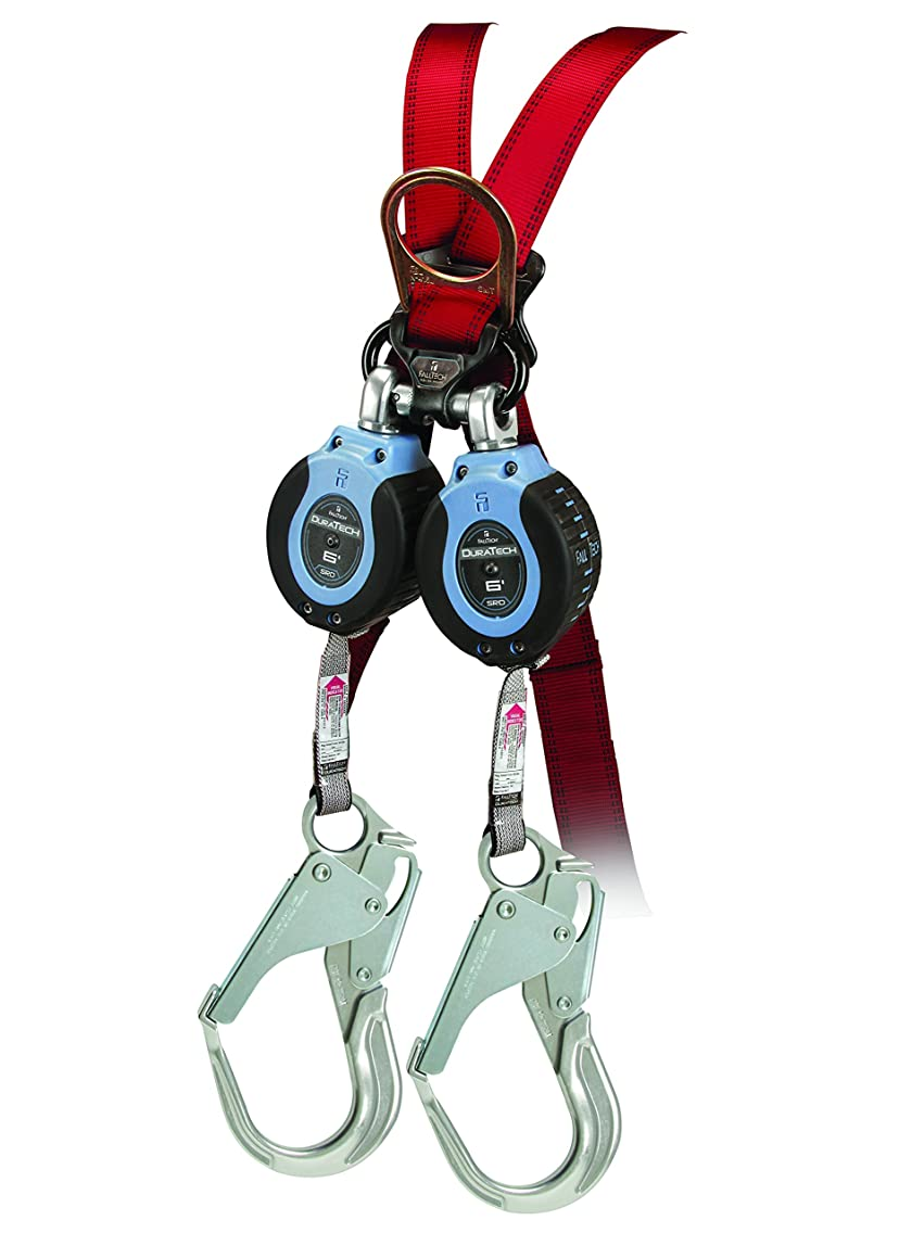 FallTech 82706TB5 Twin DuraTech 6' Compact Web SRL - Carabiner with Alignment Clip, and Aluminum Rebar Hook leg-end Connectors, Twin 6', Blue/Black