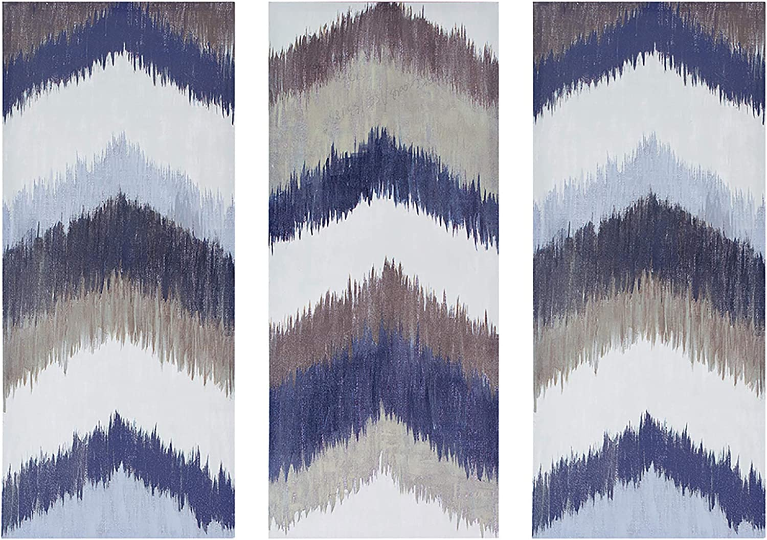 INK+IVY Alpine Wood Grey White Canvas Wall Art 15X35 3 Piece Multi Panel, Contemporary Modern Wall Décor