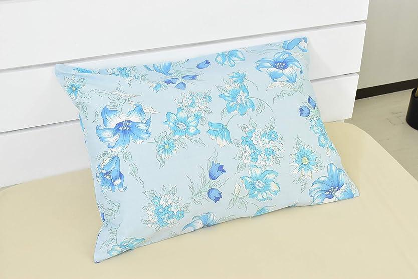 ペダル印象派トレイルオーシン ピローケース ブルー 43×63㎝ 花柄 OS-AM10490