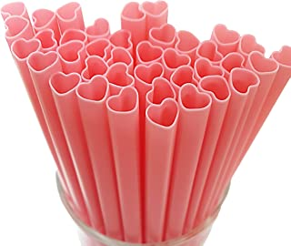 The best MOON 100pcs Heart Shaped Pink Straws Disposable Drinking Cute Straw Individually Wrapped plastic pink straw Cockt...