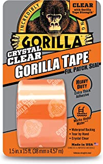 """Gorilla 6015002 Crystal Duct Tape, 1.5"""" x 5 yd, (Pack of 1), Clear"""