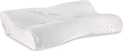 """The White Willow Memory Foam Orthopaedic Extra Neck Support Bed Pillow for Sleeping with Removable Pillow Cover (22.5"""" L x 14"""" W x 4"""" H)"""