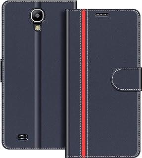 COODIO Funda Samsung Galaxy S4 con Tapa, Funda Movil Samsung S4, Funda Libro Galaxy S4 Carcasa Magnético Funda para Samsung Galaxy S4, Azul Oscuro/Rojo