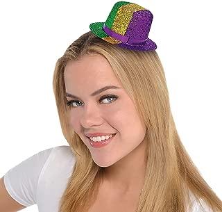 Amscan 259907 Mini Glitter Top Hat Mardi Gras Costume Headwear Party Supplies (1 Piece), Multicolor