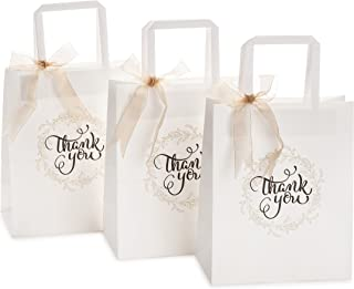 OSpecks 50 Pcs Medium Bulk Gift Bags with Thank You Print (No Bow or Ribbon), Premium..