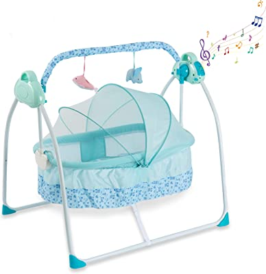 Baby Bassinet Crib Baby Bed - Newborn Baby Crib Portable Crib with Light and Music Box Rocking Sturdy Cradle - Bedside Sleeper - Foldaway Rocking Bassinet for Newborn Babies by Comfy Bumpy (Blue)