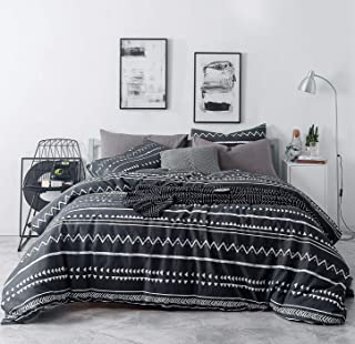 SUSYBAO 3 Pieces Duvet Cover Set 100% Natural Cotton King Size Black and White Herringbone Geometric Print Bedding Set with Zipper Ties 1 Triangle Duvet Cover 2 Pillowcases Luxury Quality Soft Durable