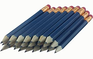 ezpencils - Blue Barrel Golf (1/2 a pencil - Pew pencils) Hexagon Pencils with Eraser - 48 pkg - Non-Smudge Eraser - # 2 HB Lead - Sharpened - Non-Branded - NEW