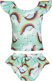 Girls Rainbow Unicorn Swimsuit Two Pieces Swimwear Bathing Suit Bikinis