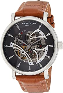 Akribos XXIV Skeleton Men's Watch – Crocodile Embossed Genuine Leather Strap – Automatic Mechanical Wristwatch See Through Dial