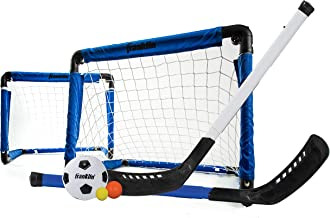 Franklin Sports Indoor Mini Goal Sports Set - 3 in 1 Kids Indoor Goal Set - Indoor Mini Floor Hockey, Knee Hockey, and Mini Soccer Set for Kids