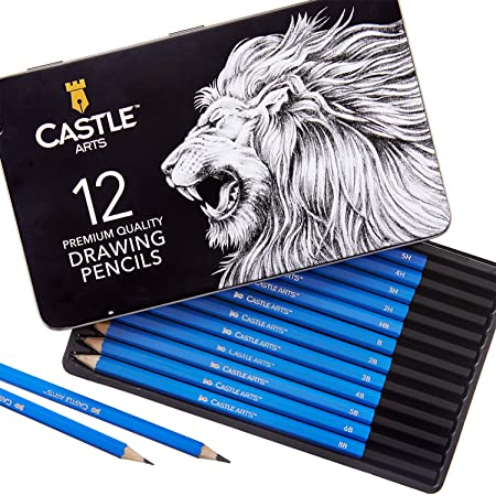 Castle Art Supplies Set de 12 crayons à dessiner pour adultes, artistes et enfants   Crayons à dessiner en graphite de haute qualité avec étui en métal   Crayons à dessiner parfaits pour l'art