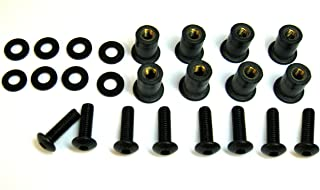 Motorcycle Windscreen Bolt Kit Windshield Stainless Steel Black Screws Well Nuts Washers - Black 8 Pack