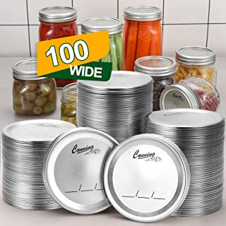 100-Count, [WIDE Mouth] Canning Lids for Ball, Kerr Jars - Split-Type Metal Mason Jar Lids for Canning - Food Grade Materi...