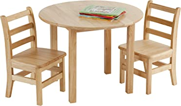 ECR4Kids 30-Inch Round Natural Hardwood Table, 22-Inch Height with Two 12-Inch Chairs, 3-Piece Set, Kids' Furniture, Children's Solid Wood Table and Ladderback Chair Set for Classroom, Playroom