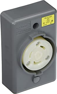 Hubbell HBL2610SR Locking Safety Shroud Receptacle, L5-30R, Surface Mount, Gray