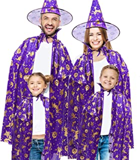 2 Pcs Witch Wizard Cape Hat Kids Adult Halloween Family Group Costumes Girls Boys Vampire Warlock Cloak Party Cape