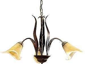 ONLI 4230/3 Lampadario 3 Luci in Metallo, Marrone, 65 x 100 cm
