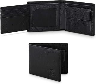 Portafoglio Uomo Vera Pelle Blocco RFID con 10 porta carte di credito e finestra ID e Tasca per monete grandi, Mirakle Bif...