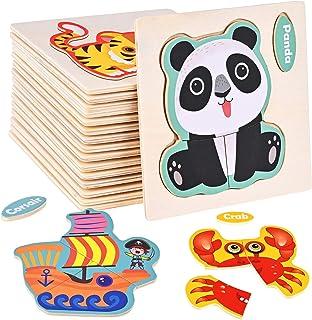 Faburo 16PCS Puzzles Animaux en Bois, Bébé Puzzle à Encastrements, Jouets Montessori Educatif Apprentissage pour Enfant 2 ...