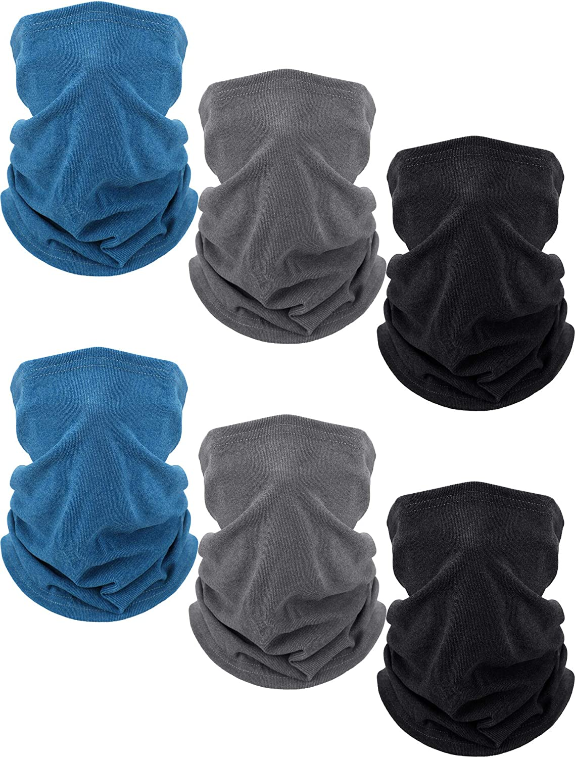 Boyiee 6 Pieces Fleece Neck Gaiter Warmer Thermal Neck Gaiter Unisex Ski Tube Scarf Cold Weather Face Neck Covering (Grey, Navy Blue and Black)