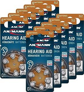 ANSMANN Hörgerätebatterien 312 (Braun 60 Stück) Typ 312 P312 ZL3 PR41 - Zink Luft 1,4V - Batterie für Hörgerät, Hörverstär...