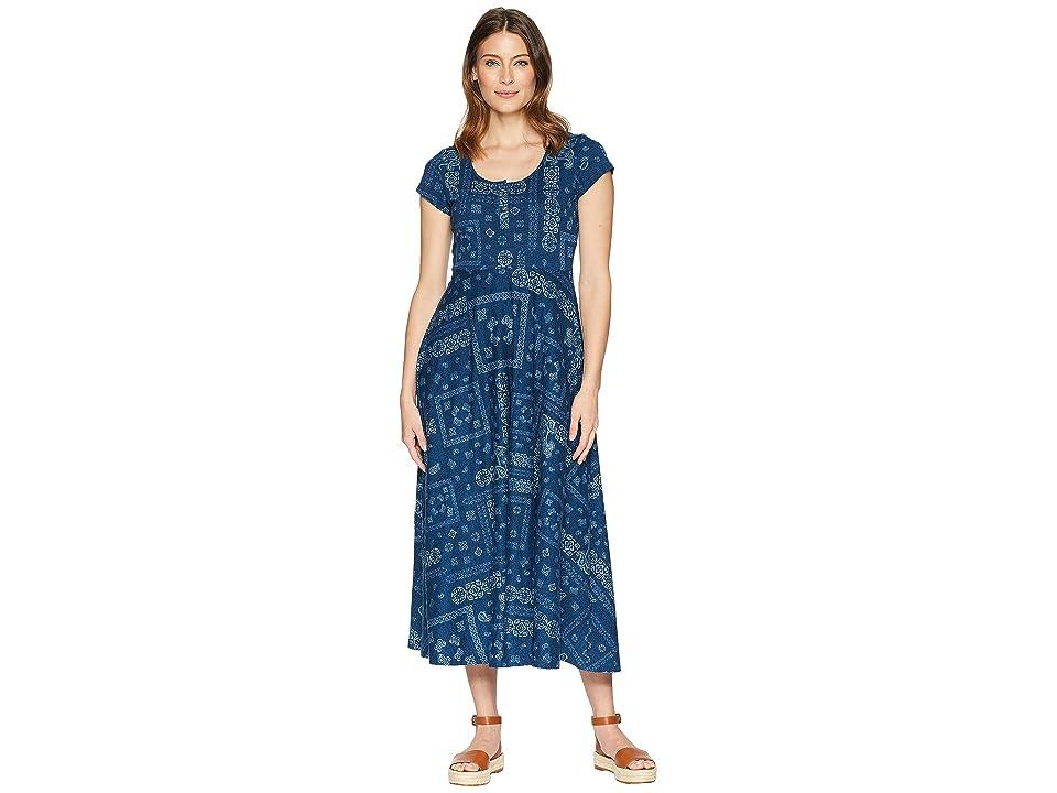 CHAPS Short Sleeve Bandanna Cotton Jersey Maxi Dress (Blue Multi) Women