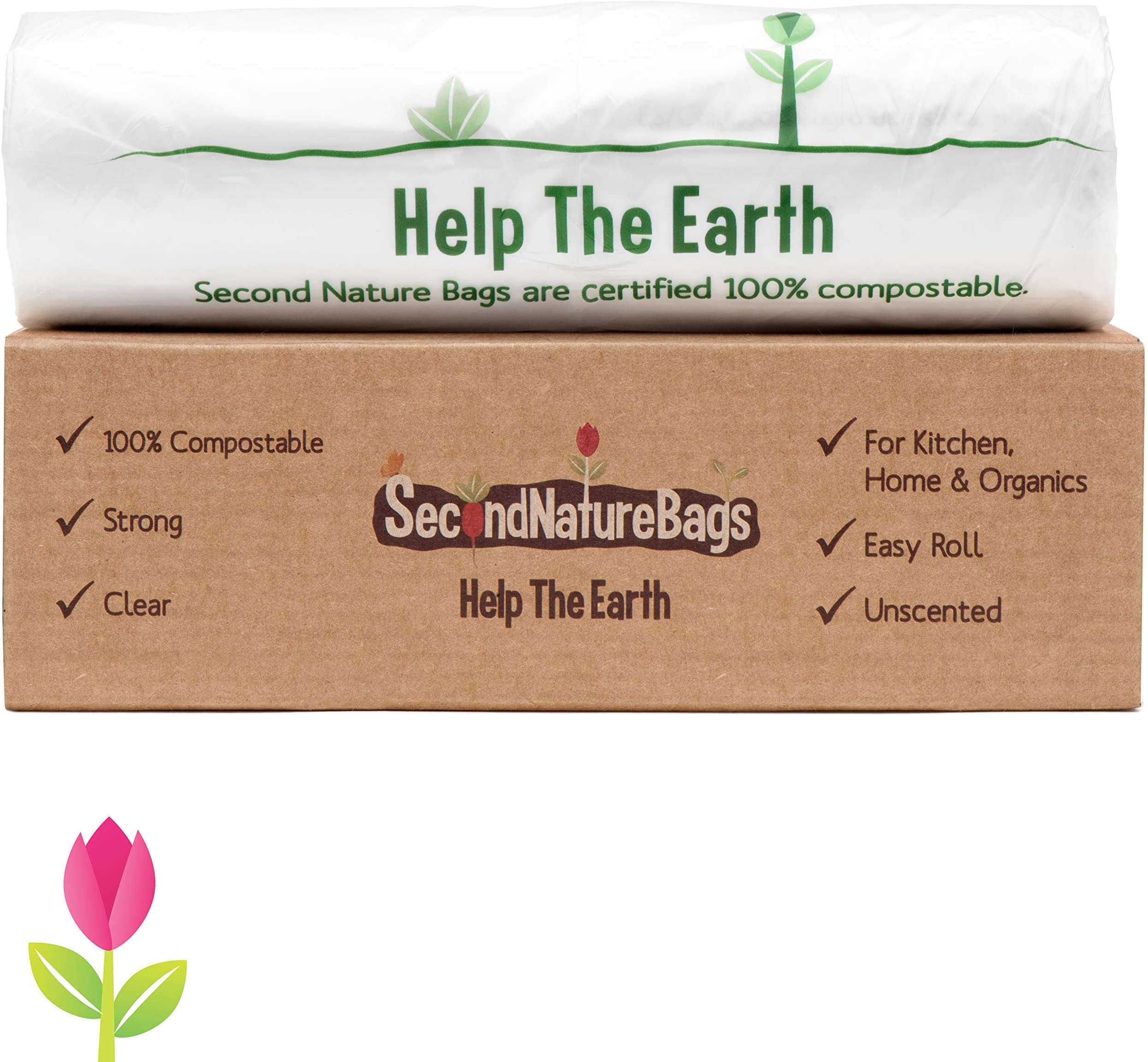 Second Nature Bags, Premium Certified 100% Compostable, 3 Gallon, 100 Bags, Extra Thick 0.75 Mils, Small Kitchen Food Scraps & Home Trash Bags