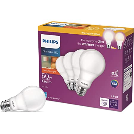 Philips LED Dimmable Warm Glow Effect A19, Flicker-Free, EyeComort Technology, 800 Lumen, 2200K-2700K, 8.8W=60W, E26 Base, Title 20 Certified, 4-Pack