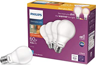 Philips LED Dimmable Warm Glow Effect A19, Flicker-Free, EyeComort Technology, 800 Lumen, 2200K-2700K, 8.8W=60W, E26 Base,...